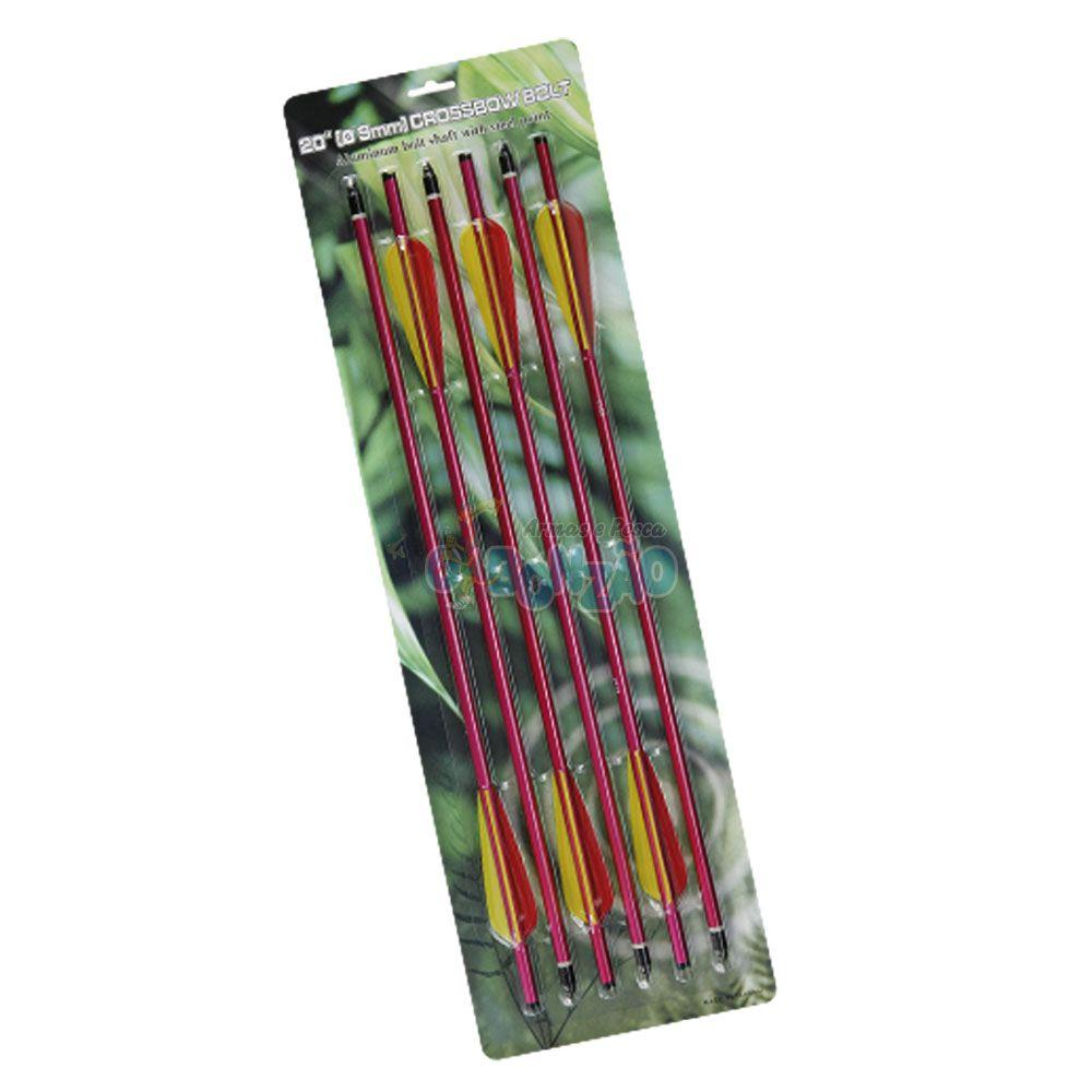 Kit 6 Flechas Setas de Alumínio 20 Polegadas p/ Balestra