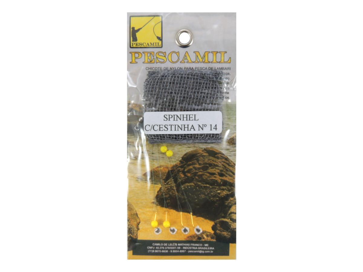 Kit com 10 cartelas de Espinhel Pescamil com Cestinha Nº 14