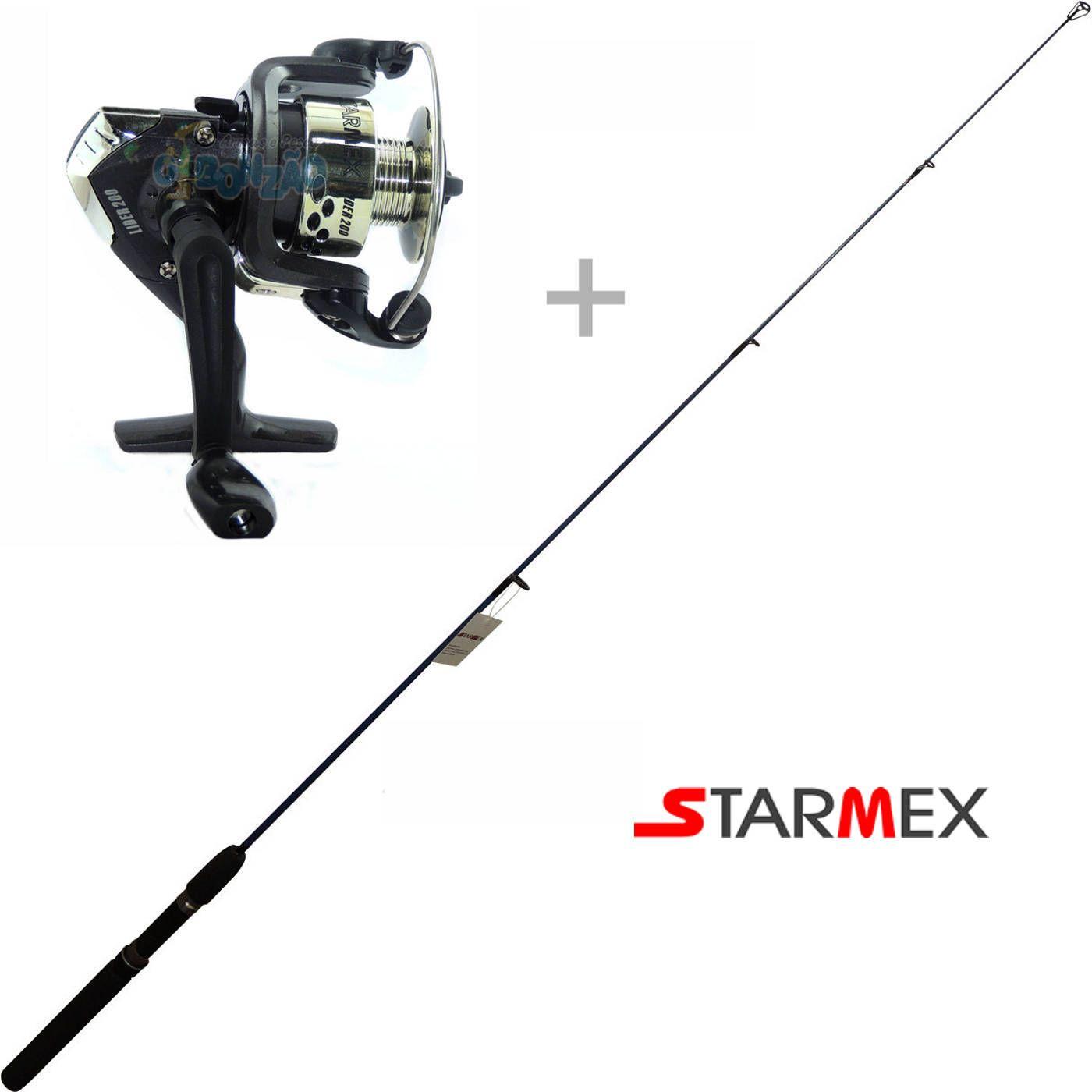 Kit de Pesca Vara Abella Spin 1,35m + Molinete Lider 200 - Starmex
