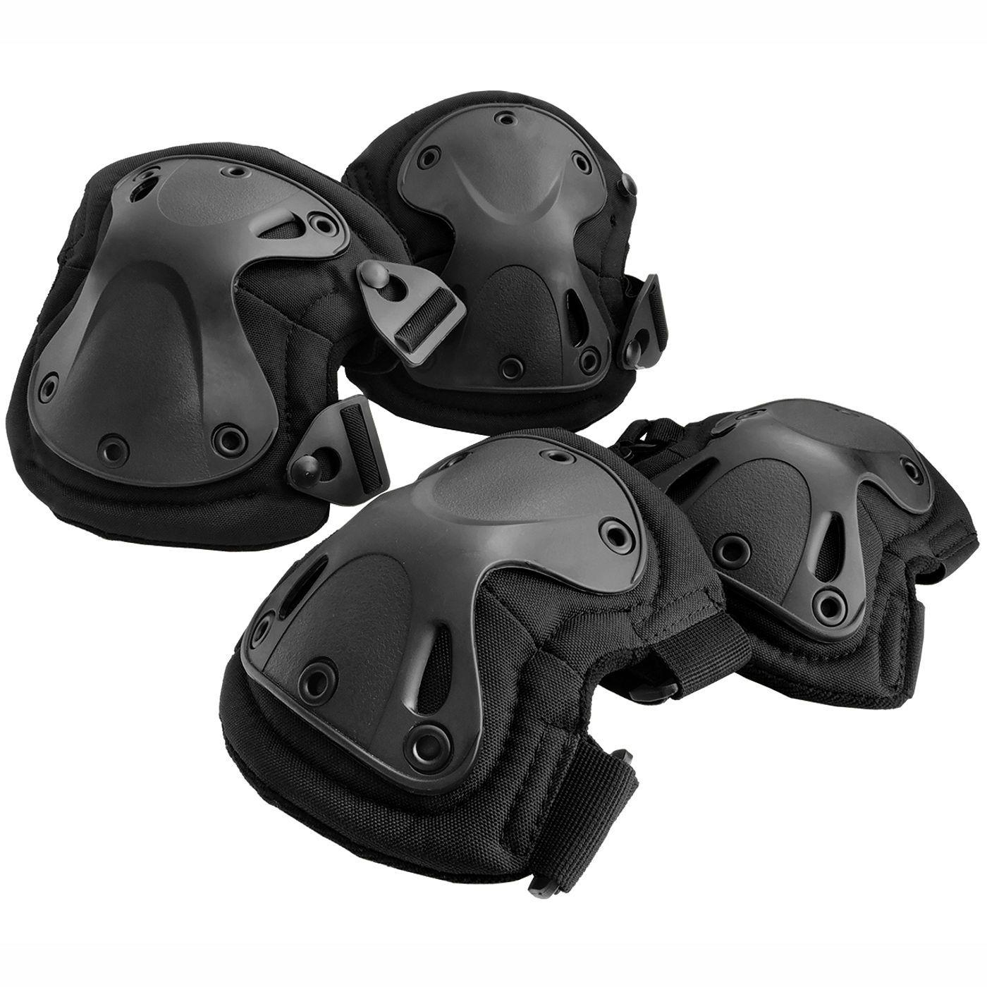 Kit Joelheira e Cotoveleira Tática Black para Airsoft - Emerson Gear