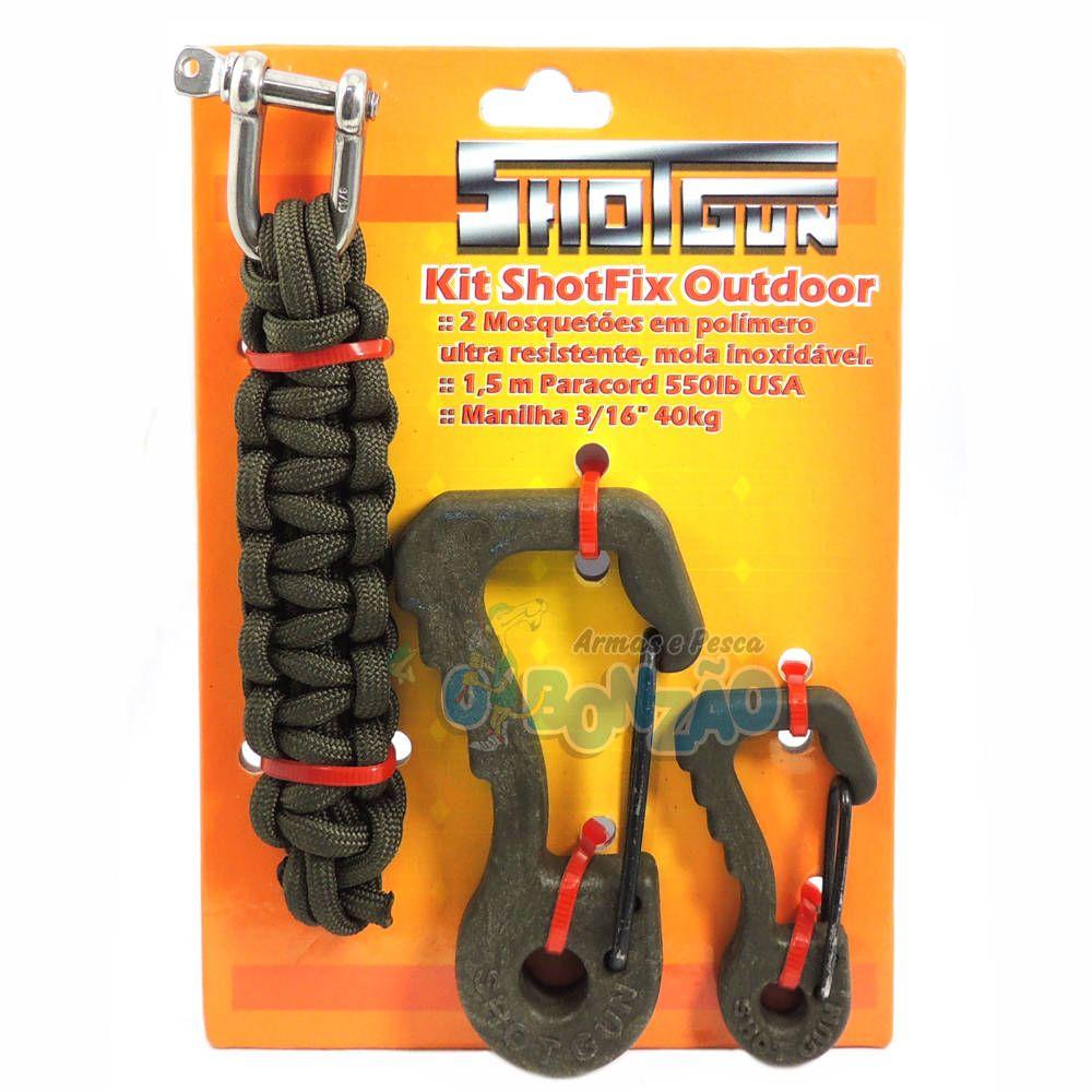 Kit Shotfix Outdoor Shotgun - Mosquetão Polímero / Paracord 550 / Manilha - Verde Musgo