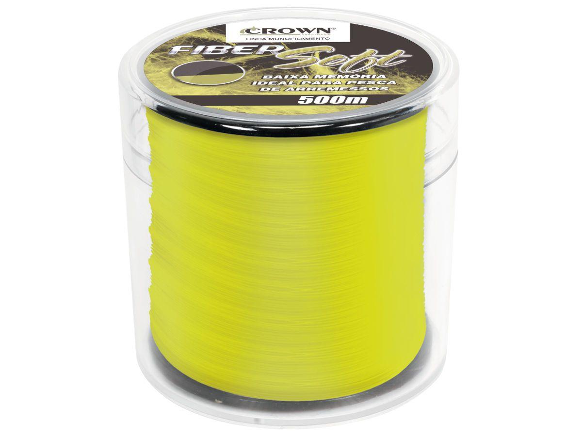 Linha de Pesca Crown Fiber Soft Monofilamento Amarelo 0,20mm 9Lbs 500m