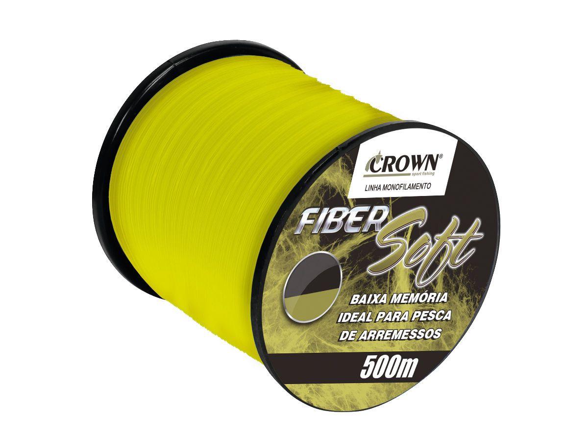 Linha de Pesca Crown Fiber Soft Monofilamento Amarelo 0,26mm 14Lbs 500m