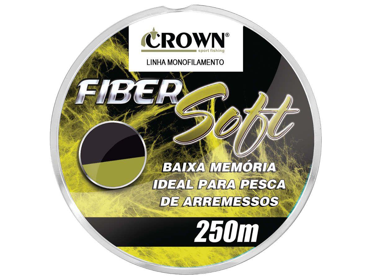 Linha de Pesca Crown Fiber Soft Monofilamento Amarelo 0,52mm 52Lbs 250m