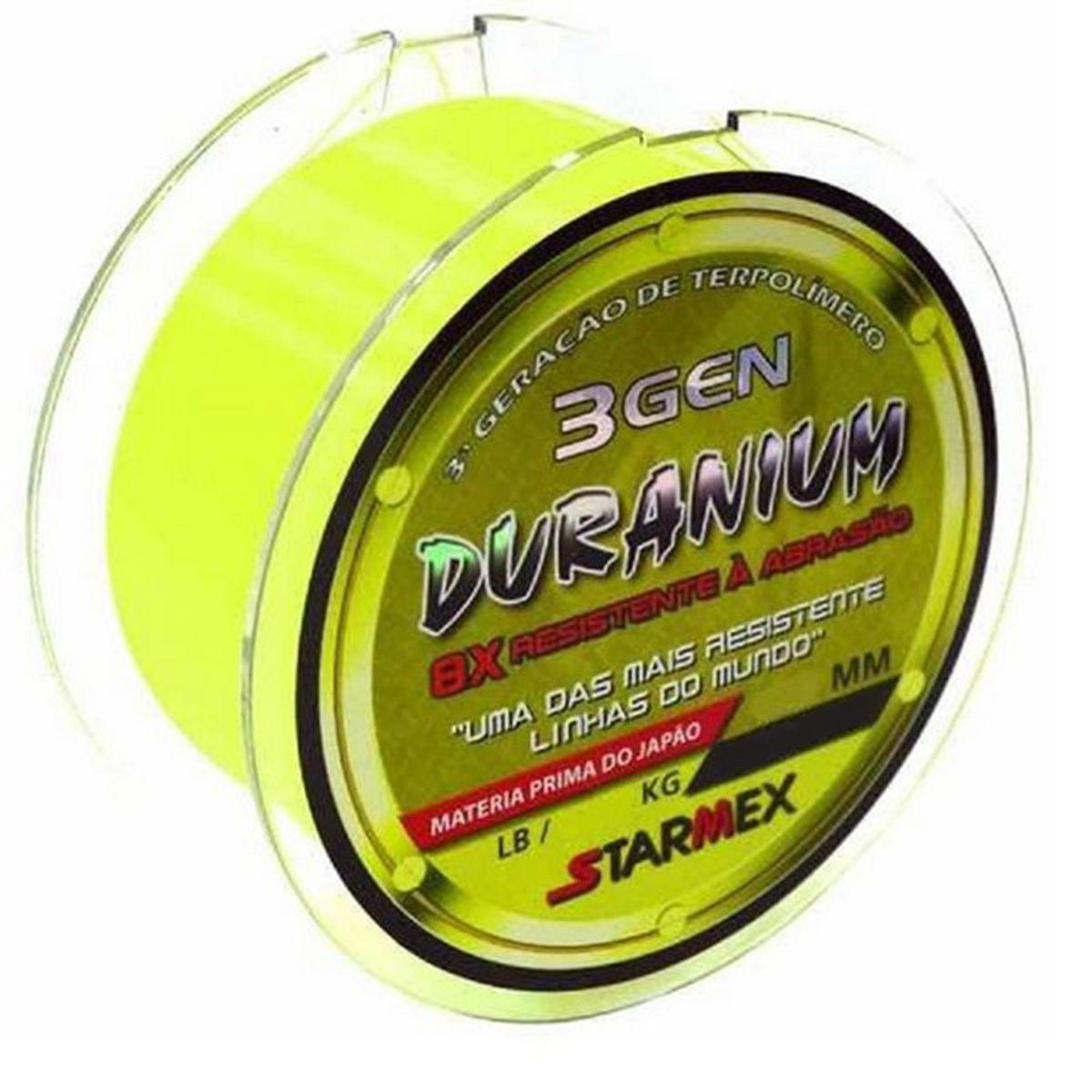 Linha Monofilamento Starmex Duranium/DuraNew 8x 3 GEN 0,28mm 17Lbs 100m - Yellow