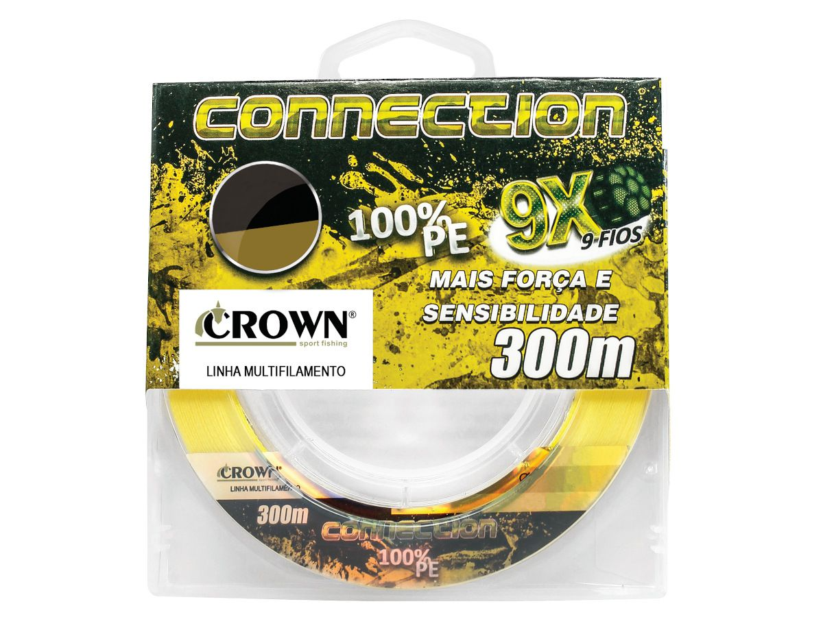 Linha Multifilamento Crown Connection 9x 0,28mm 50Lbs 300m - Yellow