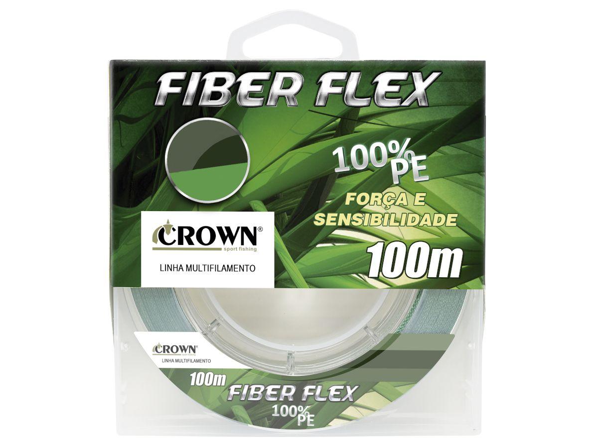 Linha Multifilamento Crown Fiber Flex 4x Verde 0,37mm 65Lbs - 100 Metros