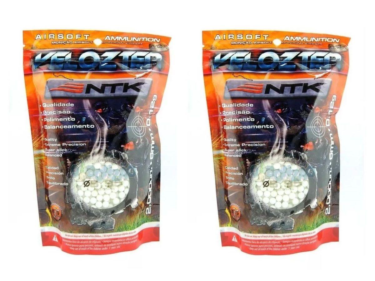 Munição Esferas Airsoft Bbs Velozter Ntk 0.12g 6mm - 4000un