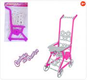 Carrinho de Boneca de Plástico Infantil Rosa Branco