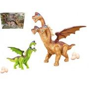 Dinossauro com 3 Cabeças e Asas Emite Som e Luz e Bota Ovos