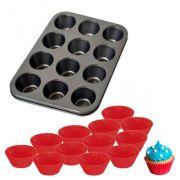 Forma Assadeira de Aço Carbono Antiaderente para Cupcakes com 12 Cavidades + 12 Formas de Silicone