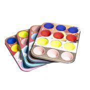 Forma Assadeira de Aço Carbono Antiaderente para Cupcakes com 12 Cavidades + 12 Formas de Silicone Colors