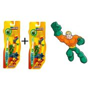 Kit com 2 Escova Dental Infantil Cerdas Macias com Capa Protetora DC Super Friends - Aquaman