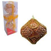Kit com 3 Bolas Modelo Cebola de Natal Luxo Decorada Pedrinhas e Glitter 8 cm Ø