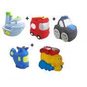 Kit com 5 Veículos de Transporte Diferentes Brinquedo de Vinil para Bebê a Partir de 3 Meses