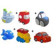 Kit com 6 Veículos de Transporte Diferentes Brinquedo de Vinil para Bebê a Partir de 3 Meses