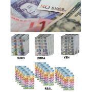 KIT DINHEIRINHO DO MUNDO 60 FOLHAS SORTIDOS EURO LIBRA YEN REAL