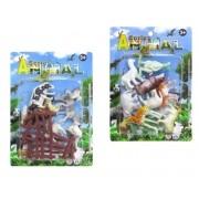 Kit Series Animal com 8 Animais de Pvc Fazenda ou Selva + Acessório