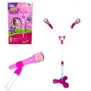 Microfone Duplo Infantil com Pedestal Glam Girls - Conecta com Celular