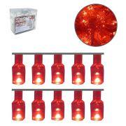 Pisca com 100 Lampadas Leds Cor Vermelho Decorativo com 4 Funções 9 M - 220V