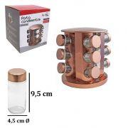 Porta Condimentos com 12 Vidros de 80 ml + Suporte de Inox Giratório Rose Gold