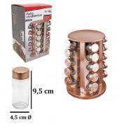 Porta Condimentos com 20 Vidros de 80 ml + Suporte de Inox Giratório Rose Gold