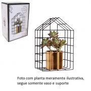 Prateleira Aramada Modelo Casinha com Vaso Dourado - Lindo Jardim Vertical