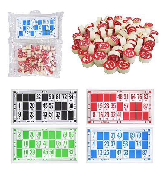 Bingo Jogo Divertido com 48 Cartelas + 90 Números de Madeira