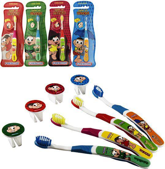 Escova dental Infantil Cerdas Macias com Capa Protetora A Turma da Mônica - Cascão