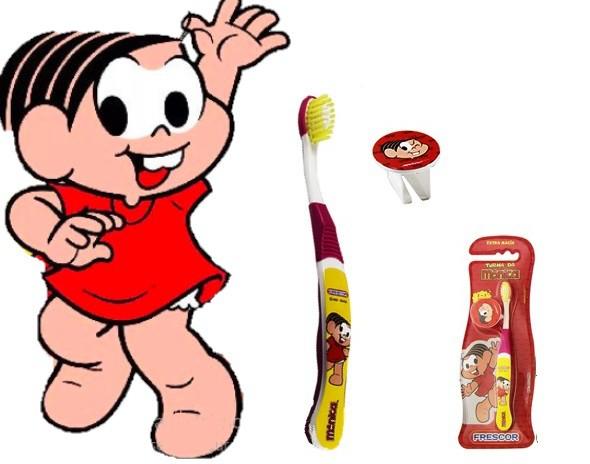 Escova dental Infantil Cerdas Macias com Capa Protetora A Turma da Mônica - Mônica