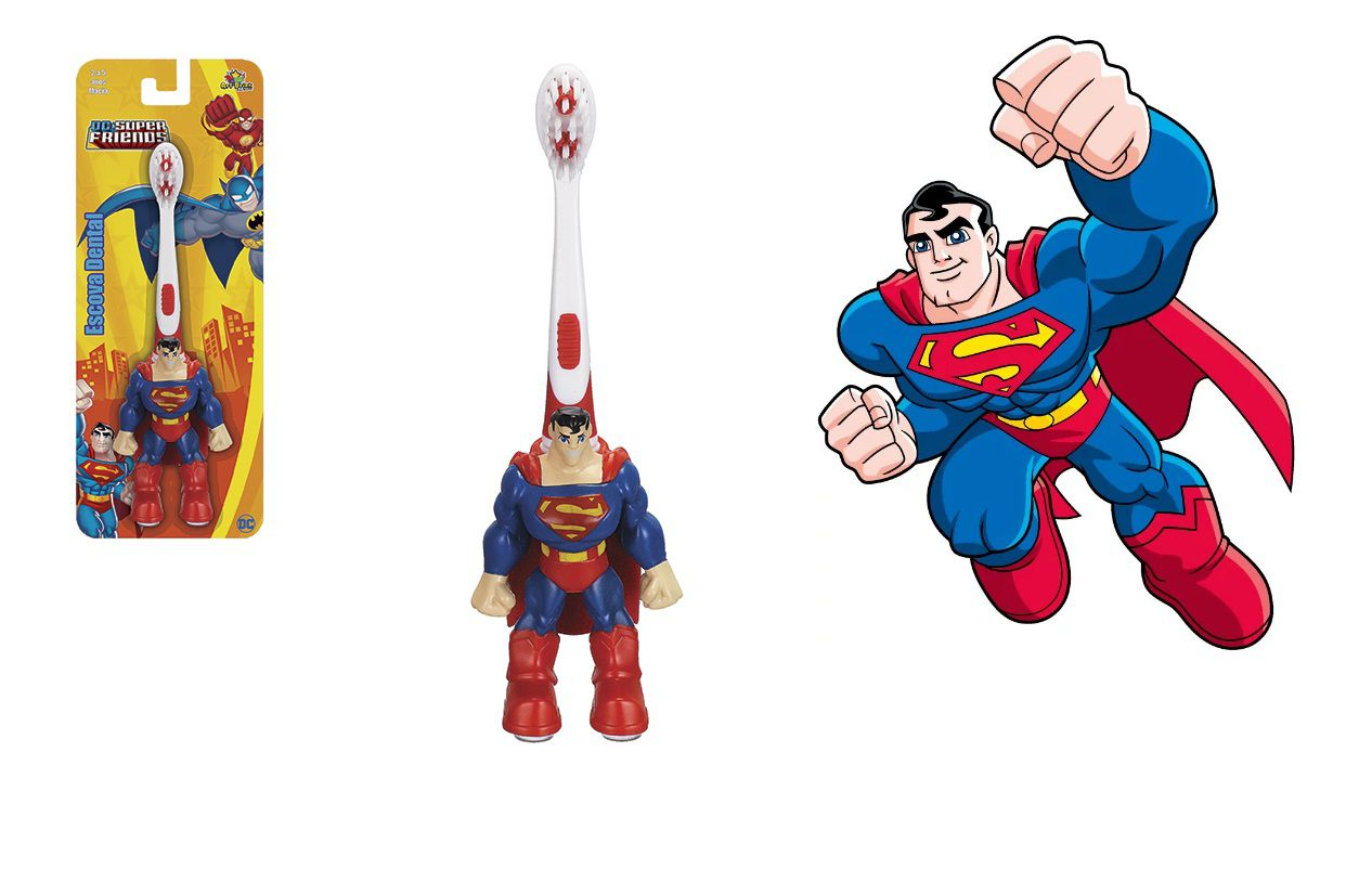 Escova dental Infantil Cerdas Macias DC SUPER FRIENDS 3D - Superman