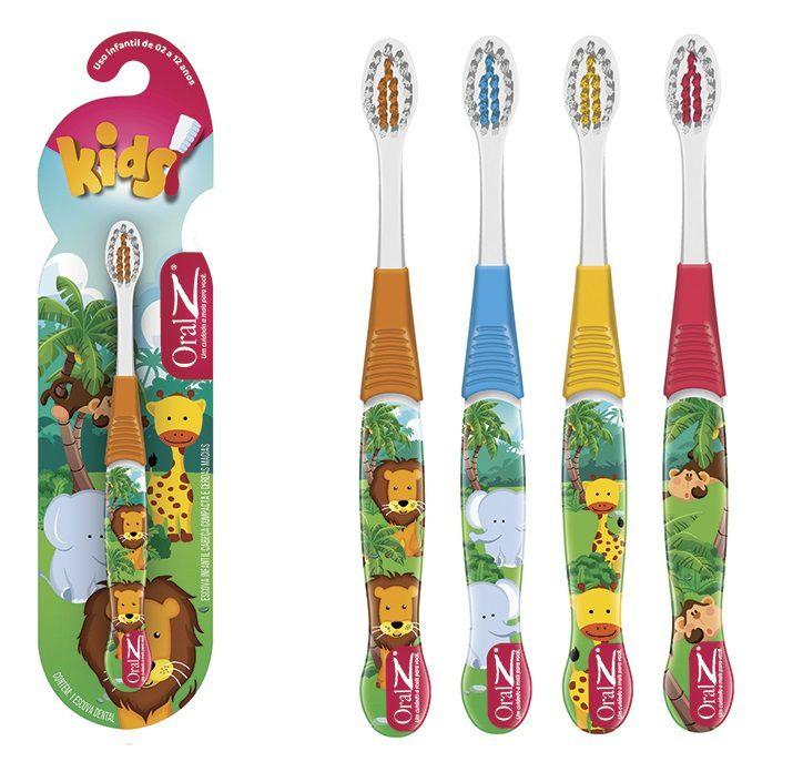 Kit 4 Escovas dental Infantil Cerdas Macias  - Zoo