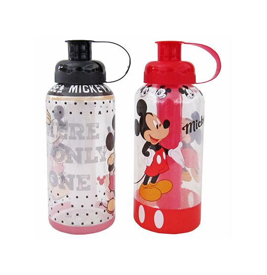 GARRAFA SQUEEZE DE PLASTICO PET MICKEY COM TUBO DE GELO COLORS 600ML