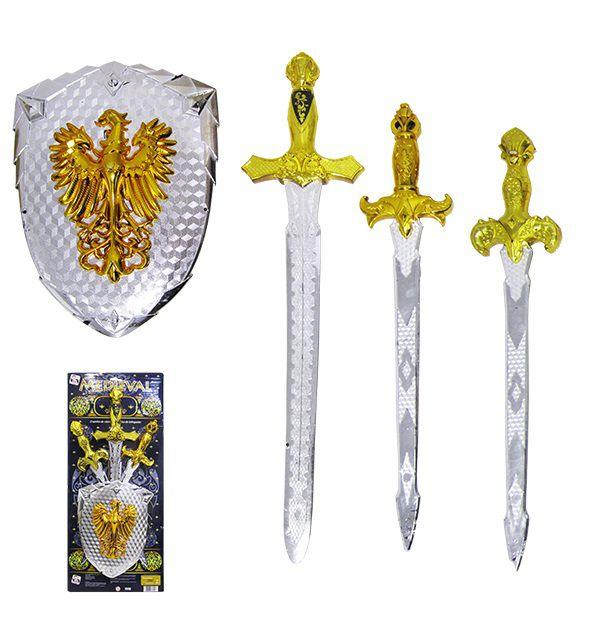 Kit Brinquedo Medieval com 3 Espadas + Escudo Weapons