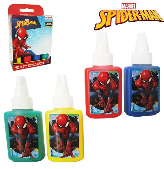 KIT COLA COM 4 CORES SORTIDAS  SPIDER-MAN