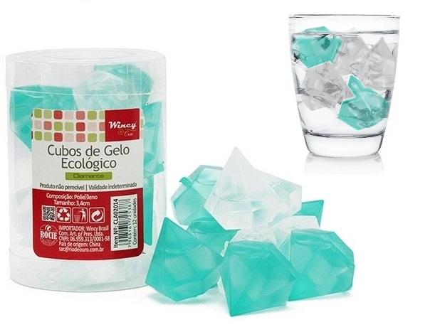 Kit com 12 Cubos de Gelo Artificial Ecológico Reutilizável - Diamante