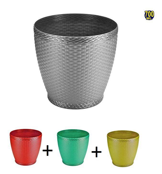 Kit com 3 Mini Vasos Redondo de Plástico Decorado com Rattan Colorido 700 ML 11x11 cm Ø