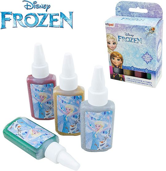 KIT COM 4 COLAS GLITTER COLORS FROZEN