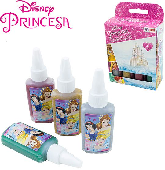 KIT COM 4 COLAS GLITTER COLORS PRINCESAS