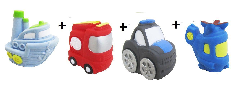 Kit com 4 Veículos de Transporte Diferentes Brinquedo de Vinil para Bebê a Partir de 3 Meses