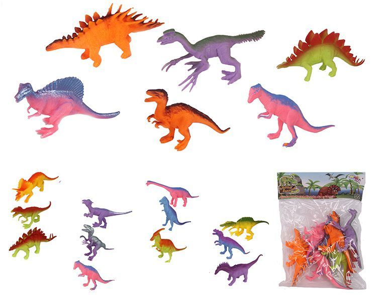 Kit Dino World com 6 Dinossauros Incríveis Fluor