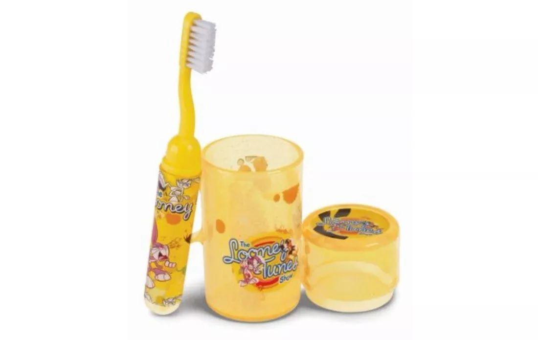 Kit Escovação higiene bucal infantil Looney Tunes.