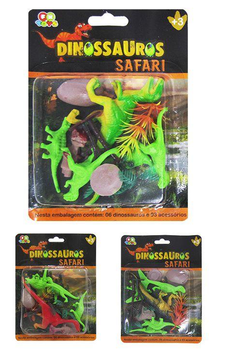Kit Safári com 27 Peças Sortidas Dinossauros e Acessórios