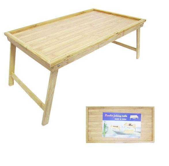 Mesa Bandeja para Cama de Bambu Retangular com Pés 50x30 cm