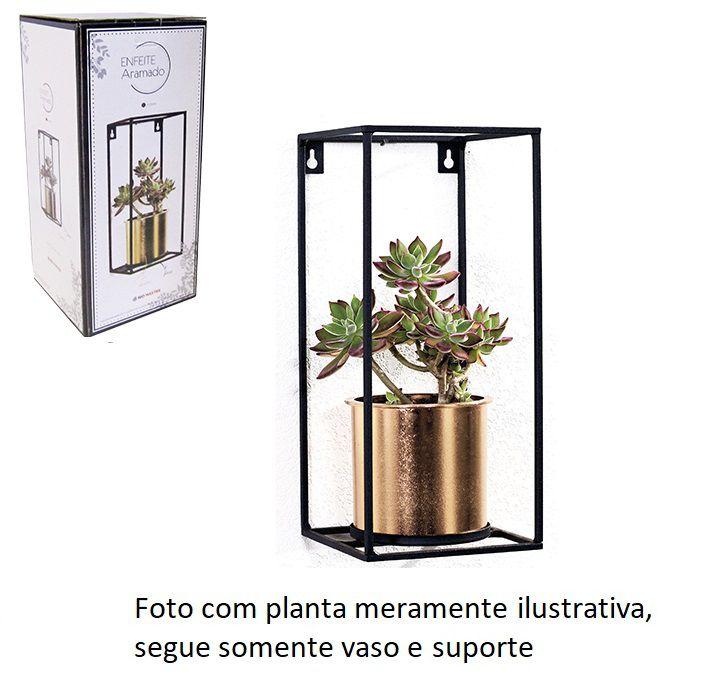 Prateleira Aramada e Quadrada com Vaso Dourado - Lindo Jardim Vertical