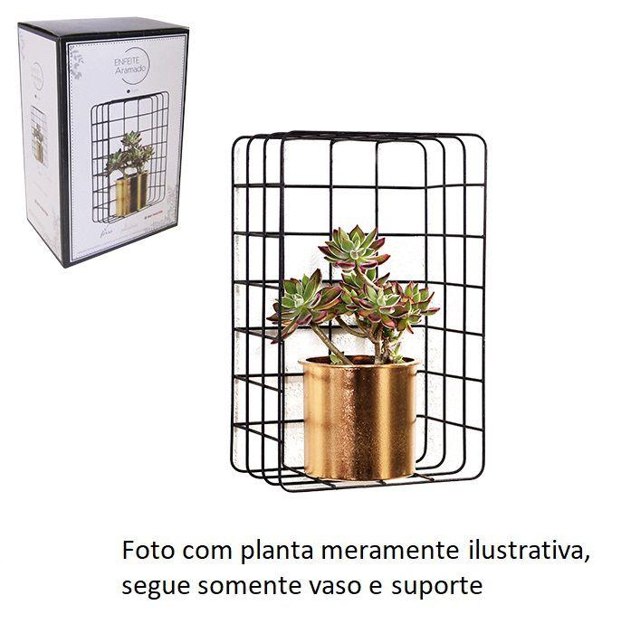 Prateleira Aramada e Retangular com Vaso Dourado - Lindo Jardim Vertical