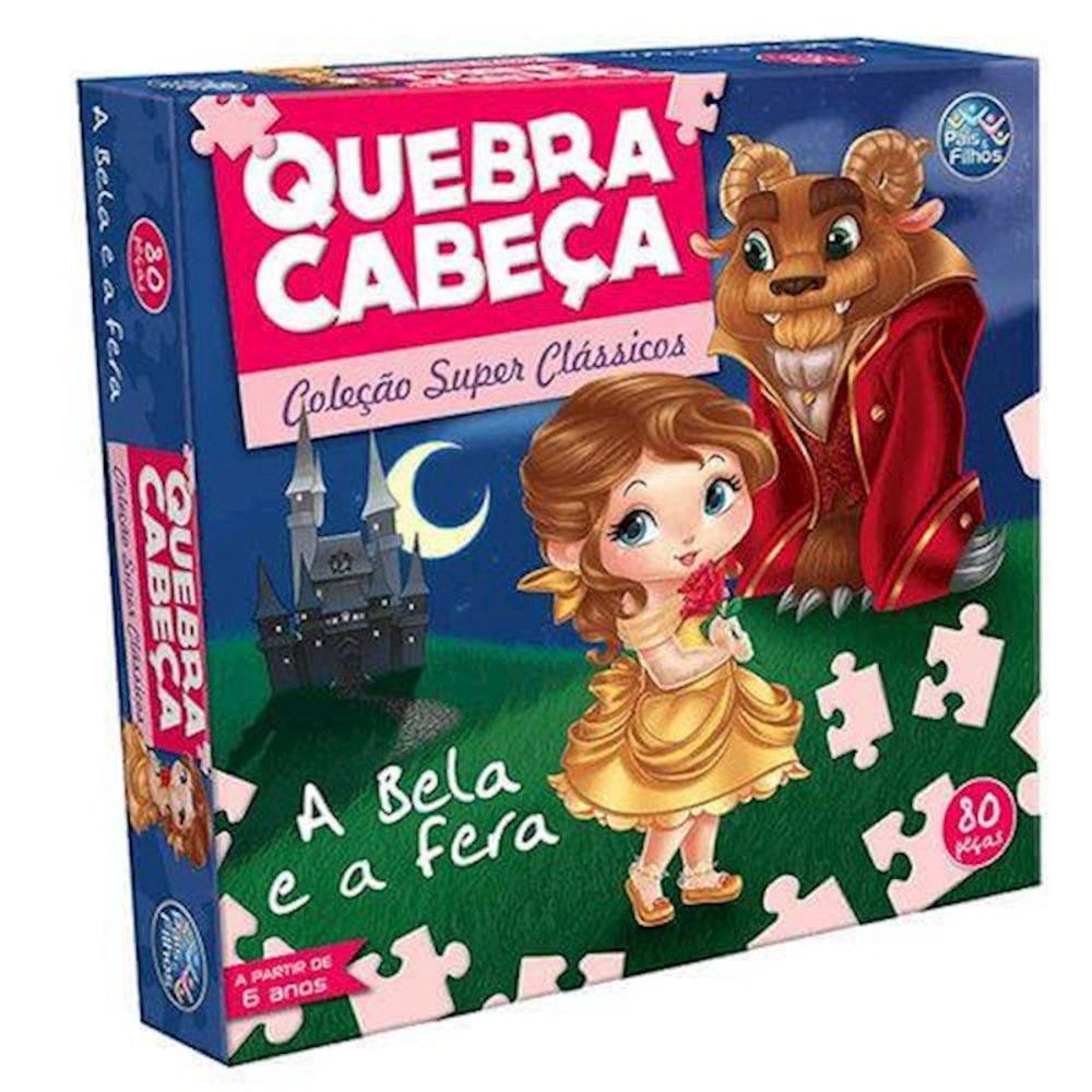 QUEBRA-CABEÇA A BELA E A FERA 80 PEÇAS - PAIS & FILHOS