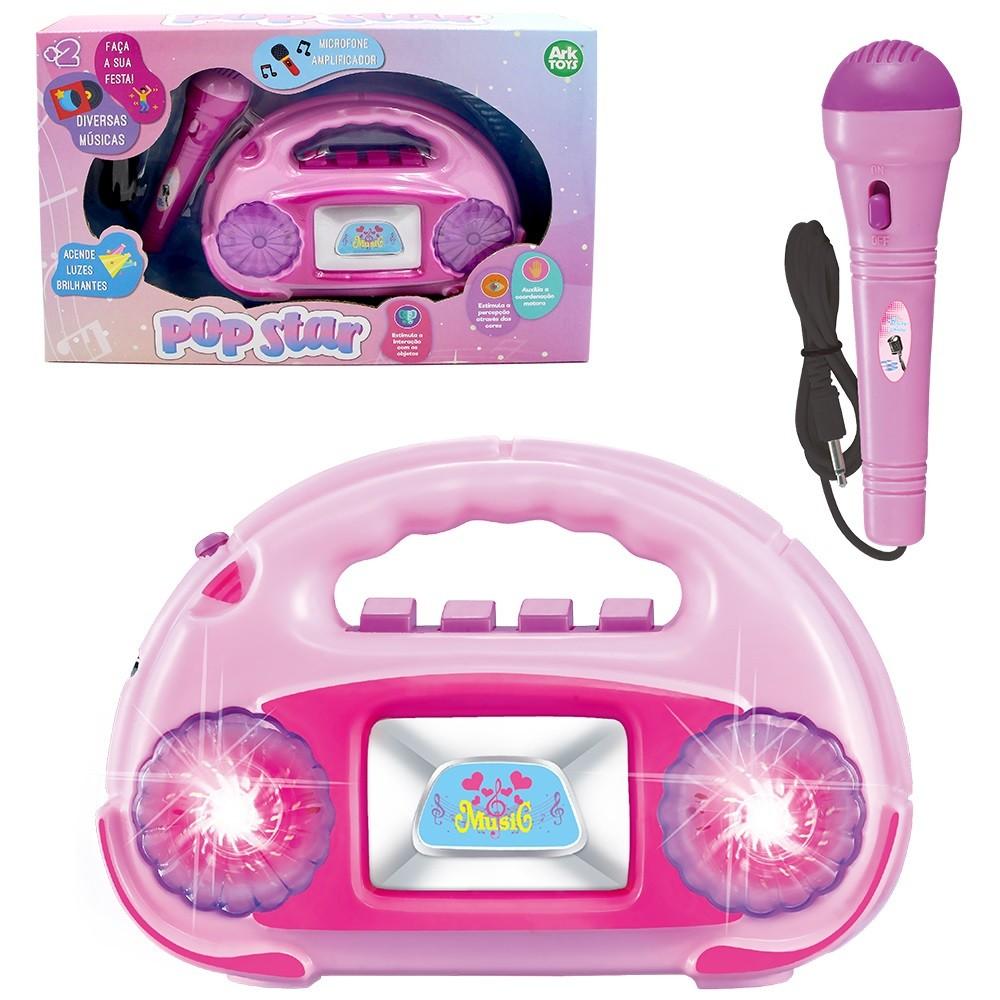 Radio com Microfone Amplificador Infantil com Musicas e Luzes