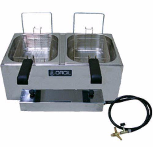 Fritadeira a Gás 2 Cubas Alta Pressão Inox 2x3L Orcil F22GAP  - Automasite