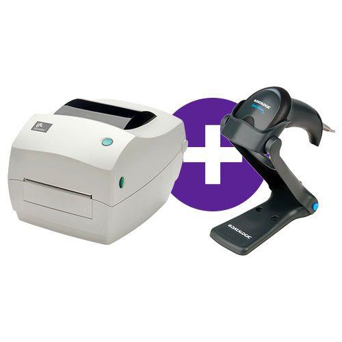 Kit Impressora GC420t Zebra + Leitor QW2100 c/ Suporte Datalogic